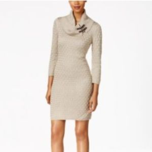 Calvin Klein Women's Cowl Neck Cable Sweaterdress